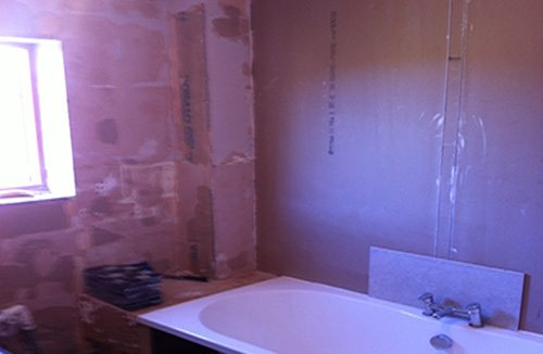 Bathroom tiling during