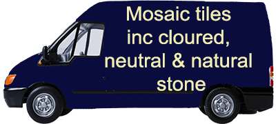 Mosaic tiles inc cloured, neutral & natural stone