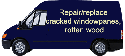 Repair replace cracked windowpanes rotten wood